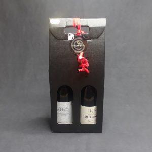 coffret cadeau deux bouteilles rouge vin