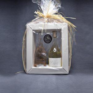 Coffret Cadeau 2 Vins, 1 Vin Rosé Grézan Faugères et 1 Vin Blanc L'Esprit Gangloff