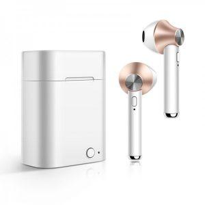 Smart Case Écouteurs Stéréo Bluetooth Sans Fil Rose Gold