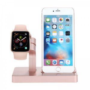 Smart Case Station de Charge Pour Iphone Et Apple Watch Rose